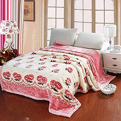 Znzbzt Autumn And Winter Thick Warm Blanket Blanket Blanket Comfortable All Seasons Available Winter Coral Fleece Blanket 150x200cm4 Catty Down Fischer And Jy Blossoming Out Drop