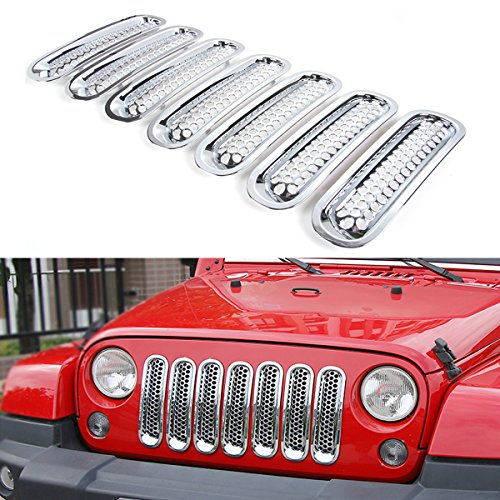 RT-TCZ Upgrade Version Clip-on Grille Front Mesh Grille Inserts for Jeep Wrangler 2007-2015 (Chrome)