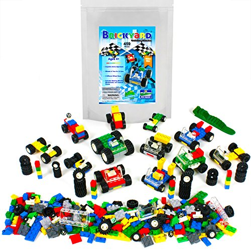 Brickyard Building Blocks Wheels, Tires, and Axles - 459 Pieces Building Bricks Compatible Set Includes Steering Wheels, Windshields, and Colorful Brick Building Chassis Pieces (459 pcs) ()