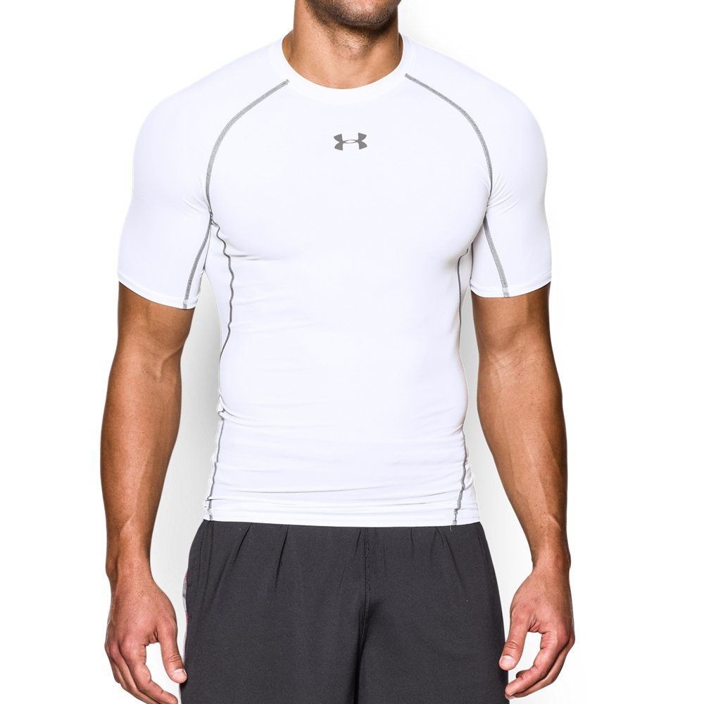 Under Armour mens HeatGear Armour Short Sleeve Compression T-Shirt, White (100)/Graphite, Small