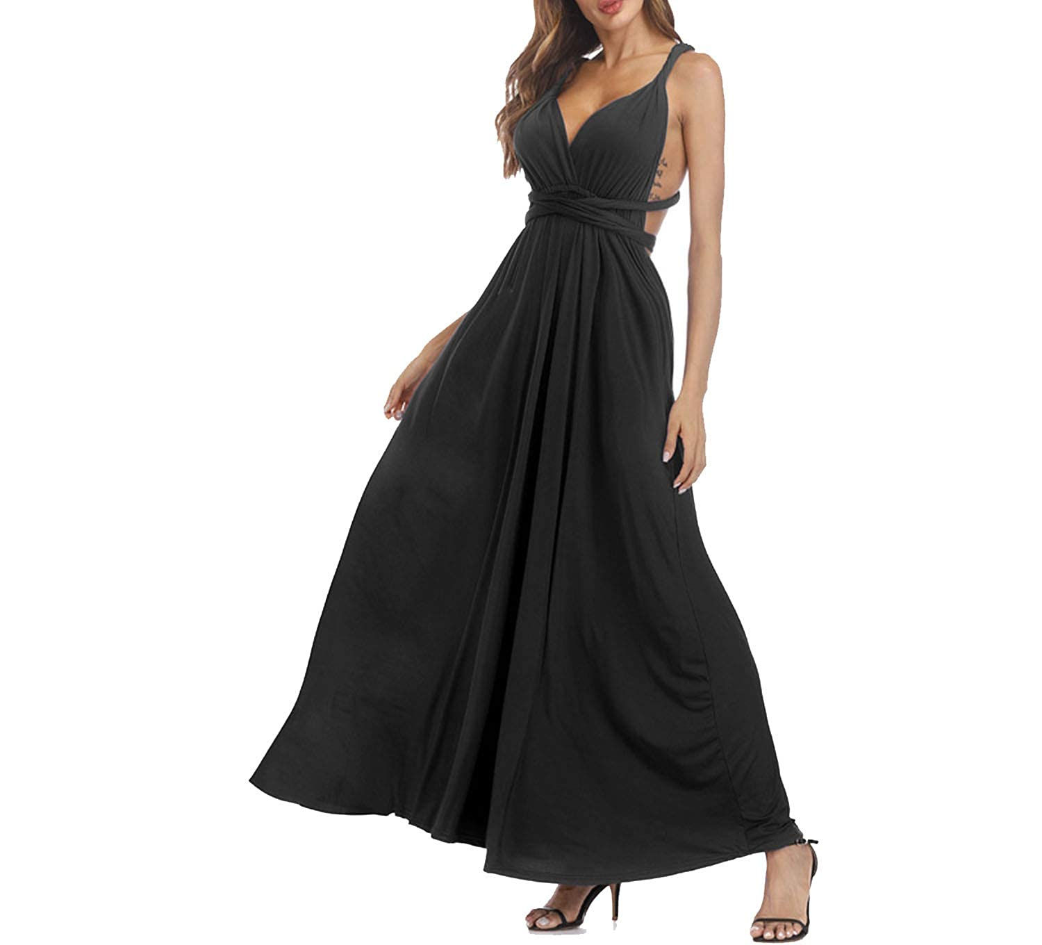 TheUniqueHouse 20 Colors Summer Maxi Party Dress Multiway Fashion Sleeveless Convertible Infinity Swing Dress,Black,XL