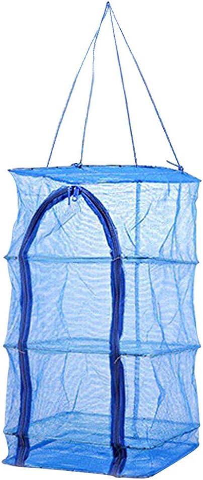 support de s/échage int/érieur // placard micro suspendu /à 3 niveaux pour herbes organisateur Freshner Avec pochette Fish Dry Net /Écran de pur/ée bleu avec fermeture /à glissi/ère de haut en bas