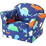 Kids Armchair with Wooden Frame and Dinosaur Printed Canvas Baby Sofa Chair Support Seat for Toddler Boys Girls Children…