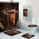 5-piece Bathroom Set-Includes Shower Curtain Liner,Western Rodeo Cowboy Leather Western Saddle on Wood Beam in Rustic Ranch Wood Print Bathroom Rugs Shower Curtain/Bath Towls Sets(Medium size)