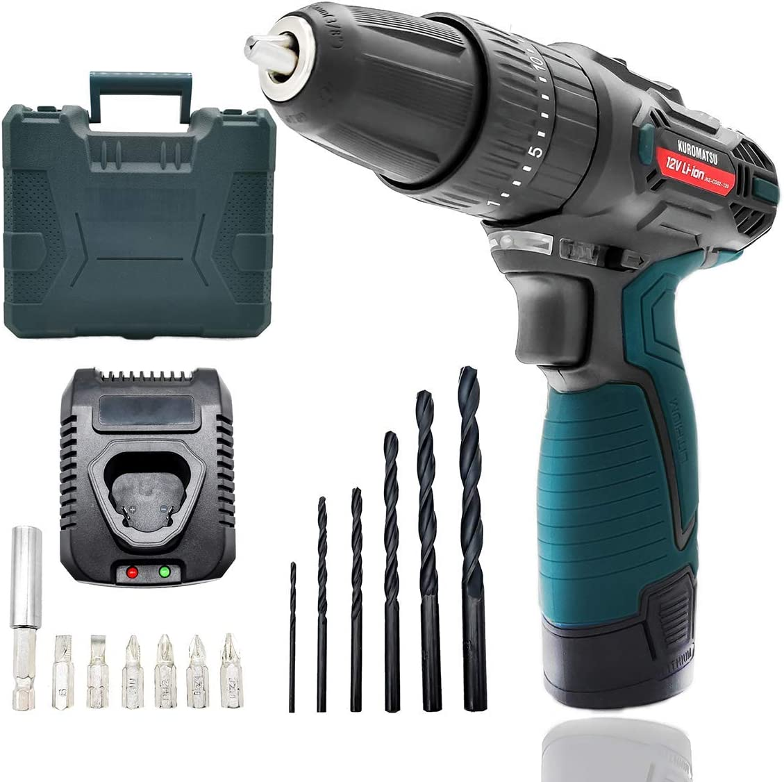 Kuromatsu Cordless Drill Screwdriver 21 3 Torque Gears, DC12V 24N.m 1500mAh Variable Speed Switch, LED Work Light, 13pcs Driver Bits Included