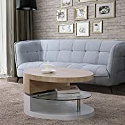 Mecor Swivel Coffee Table, Oval 360 Degree Rotating Modern Side/End/Sofa Tea Table with Glass, 3 Layers, Wood & Glass & MDF, Living Room Office Furniture