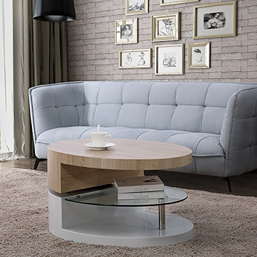 Cheap Mecor Swivel Coffee Table, Oval 360 Degree Rotating Modern Side/End/Sofa Table with Glass, 3 Layers, Wood & Glass & MDF, Living Room Furniture