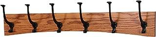 "product image for PegandRail Oak Wall Mounted Coat Rack - Arched Back Design - Black Mission Hooks - Made in The USA (Burnt Orange, 30.5"" x 6.5"" - 6 Hooks)"