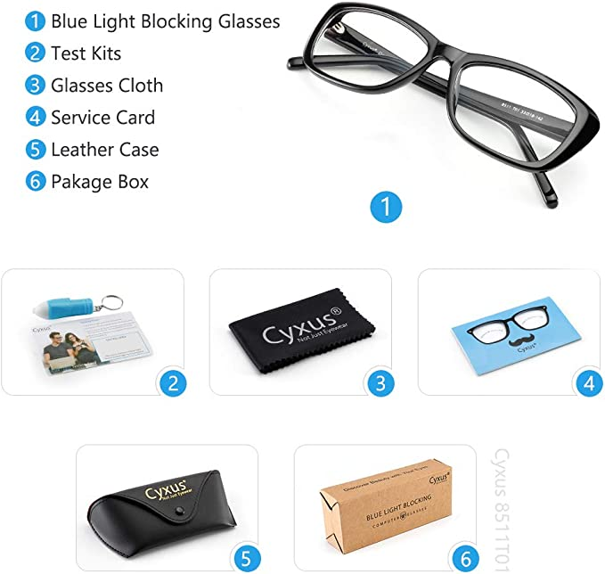 Cyxus Blue Light Blocking Glasses Acetate Square Thick Eyeglasses Frame of Unisex Gaming Eyewear