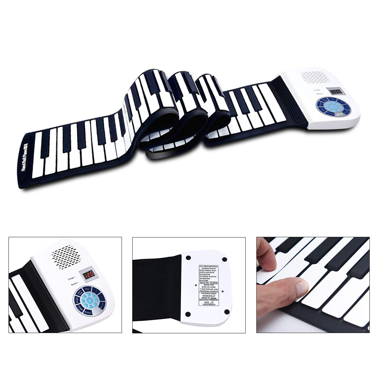 BABY JOY Roll Up Piano, Upgraded Electronic Piano Keyboard, Portable Piano w/Bluetooth, MP3 Headphone USB Input, MIDI OUT, 128 Rhythms, Record, Play, Volume Control (White, 88Keys) by BABY JOY (Image #8)