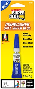 Super Glue 15171-12 Dishwasher Safe Glass Glue Tube, 3g