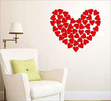 1e1f105502 Buy Wall1ders Heart Shape 3D Acrylic Mirror Wall Stickers for Home and  Office - Red -50 Pieces Online at Low Prices in India - Amazon.in