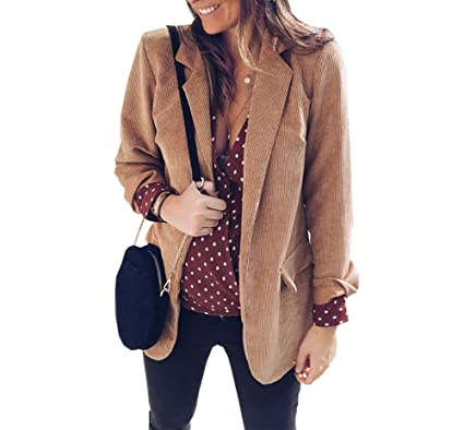 8e590a427b55 Carolilly Veste de Tailleur Femme en Velours Côtelé Manches Longues Manteau  Ouvert Slim Rose Jaune