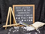 Grey Felt Letter Board - 10 x 10 inches, Premium Oak Wood Frame, 340 White Letters w/Emojis and Symbols, Changeable Custom Messages, Free Stand, Free Canvas Bag and Free Scissor. - by Aristottle
