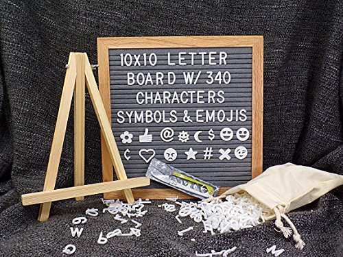 Grey Felt Letter Board - 10 x 10 inches, Premium Oak Wood Frame, 340 White Letters w/Emojis and Symbols, Changeable Custom Messages, Free Stand, Free Canvas Bag and Free Scissor. - by Aristottle by Aristottle