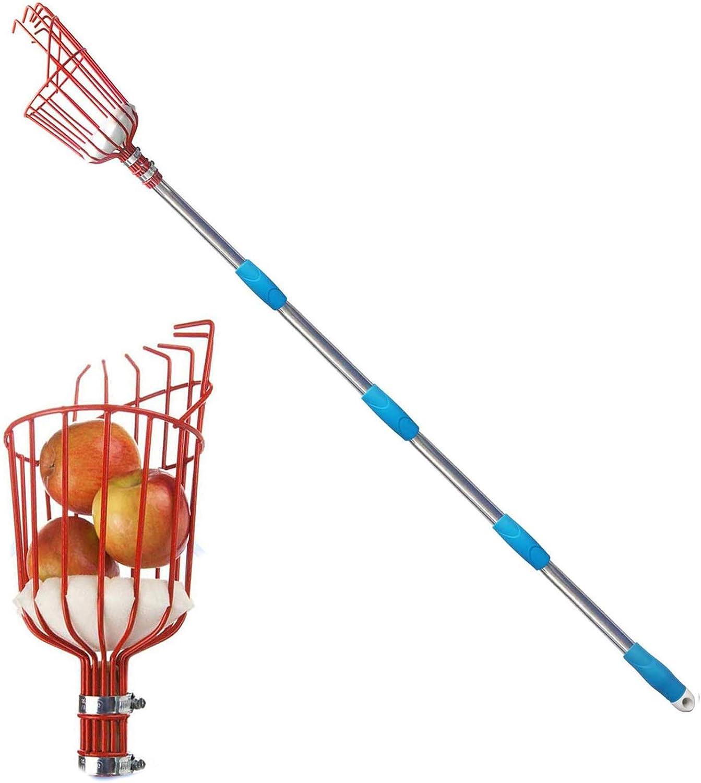 GLORYA Fruit Picker - 13ft Length Adjustable Lightweight Fruit Catcher Tool - Stainless Steel Apple Orange Pear Mango and Other Fruit Tree Picker Pole with Basket