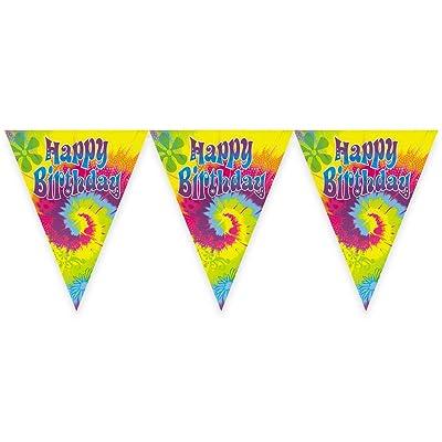 12ft Tie Dye Swirl Birthday Pennant Banner: Kitchen & Dining