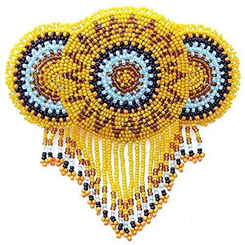 La vivia Handmade Barrette French Clip Yellow Beaded Rosette Fringe Bead Work Hair Accessories