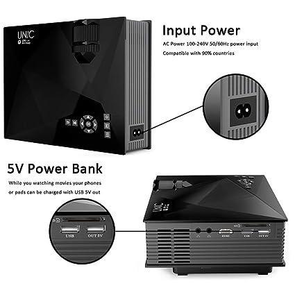 Morza Unic UC46 Multimedia Mini Proyector LED HD 1080P con la ...