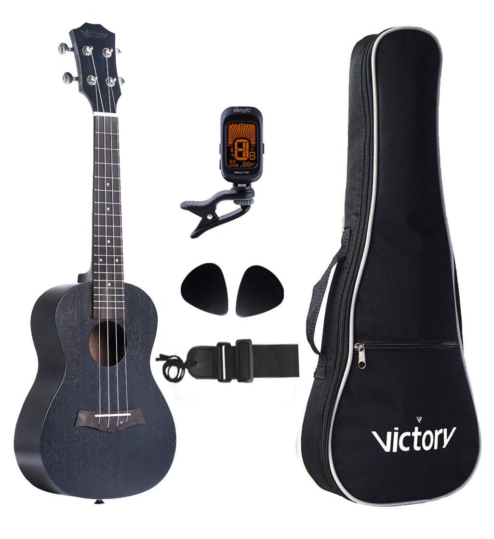 VIVICTORY Concert Ukulele 23 Inch Mahogany Aquila String with Beginner kit : Tuner, Gig Bag, Straps and Picks - Black