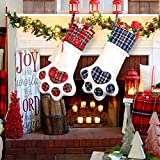 AerWo 2Pcs Large Pet Christmas Stocking with Paw (18 x 11inch/46 x 28cm) Novelty Plaid Christmas Stockings for Christmas Fireplace Decorations