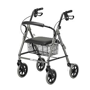Patterson Medical - Andador con frenos y 4 ruedas, color rojo