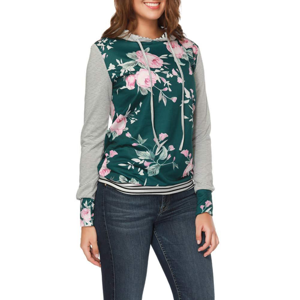 YANG-YI Claerance Womens O Neck Stripe Print Long Sleeve Causal Hooded Top Blouse Sweater by YANG-YI (Image #3)