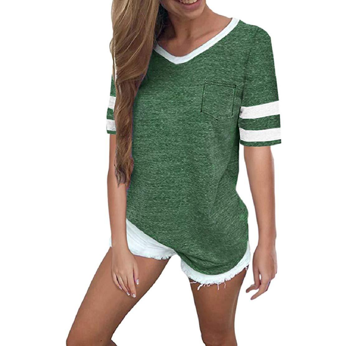 Women Summer Casual Short Sleeve V Neck T Shirt Striped Print Baseball T-Shirt Blouse Tops by Lowprofile Green