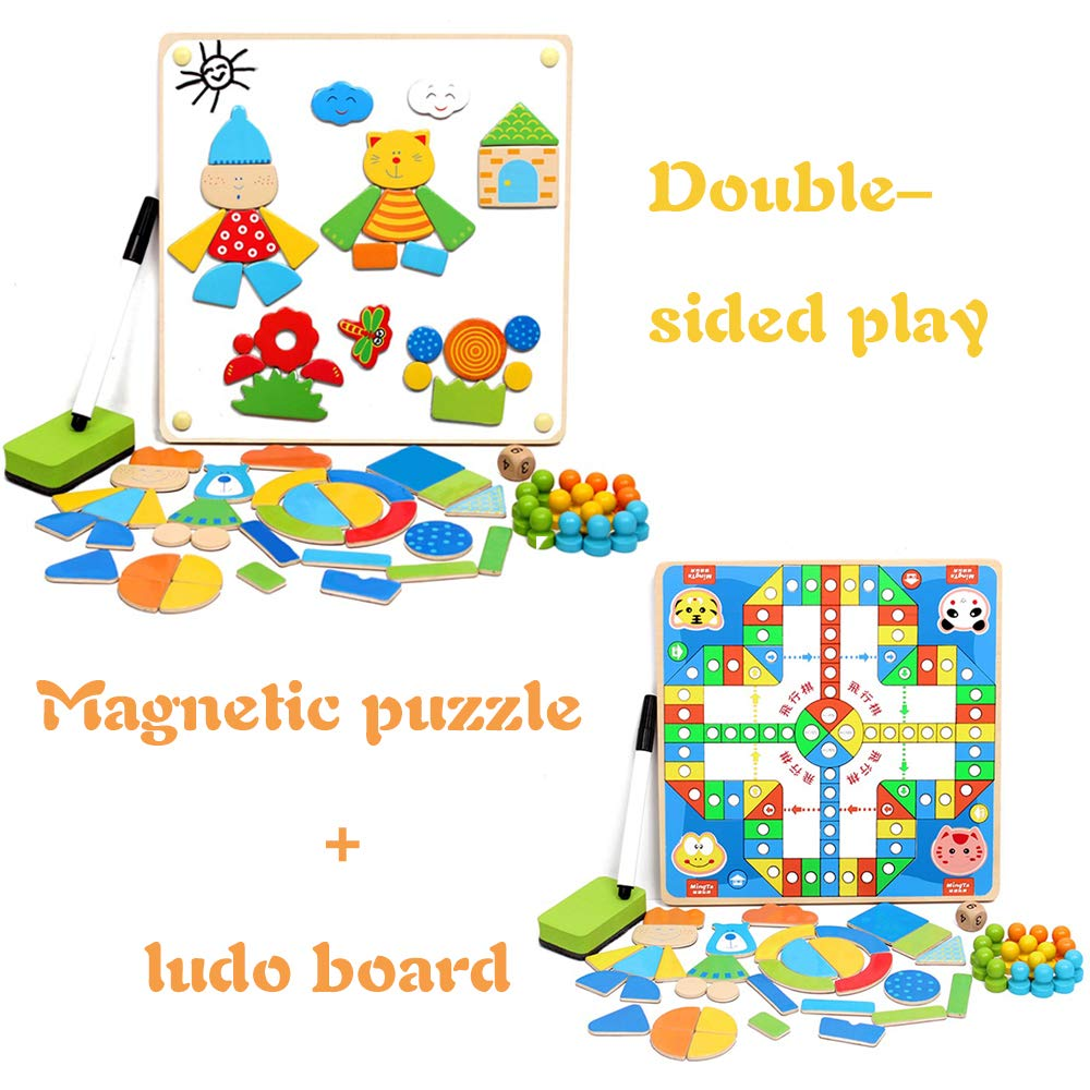 Magnetic Pattern Blocks Wooden Puzzle Toys Double Sided Play with Flying Chess Magnetic Spelling Puzzle Board for Kids