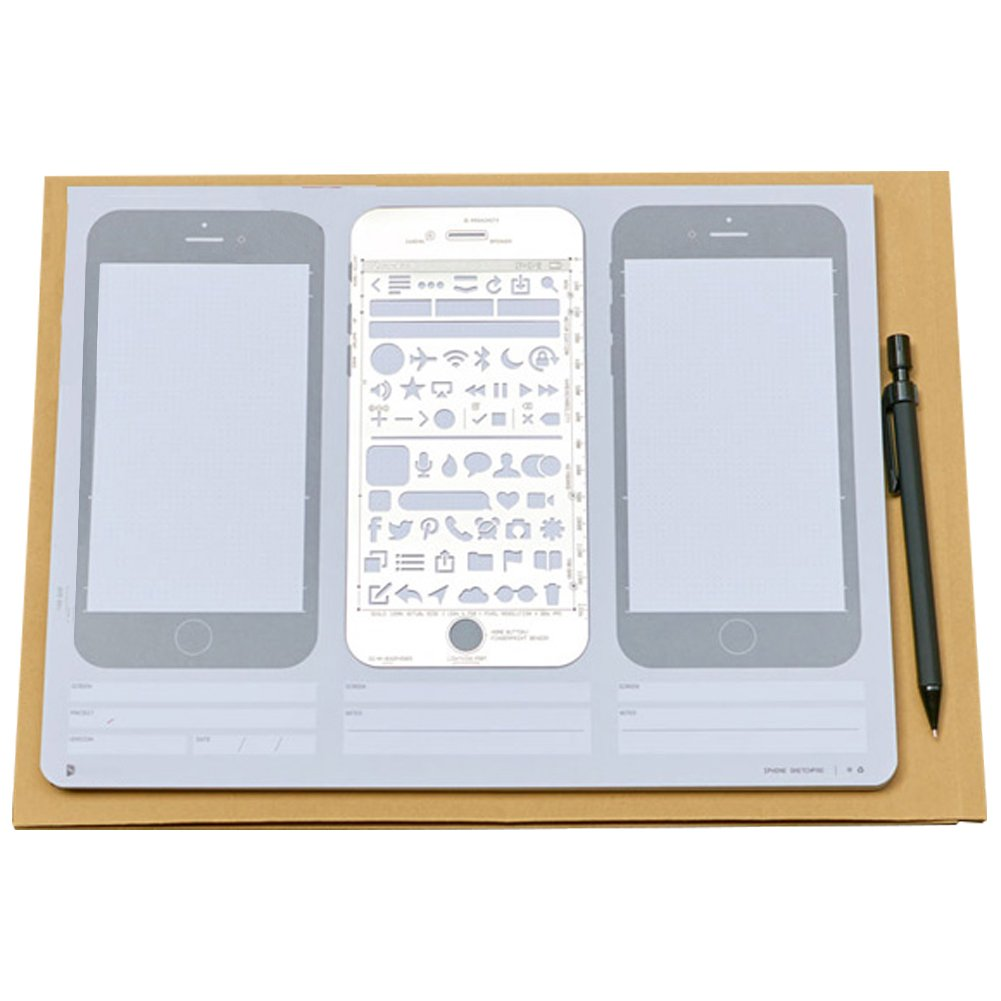 OLizee Creative iPhone 6 Sketch Pad Stencil Kit for App Design UI Design
