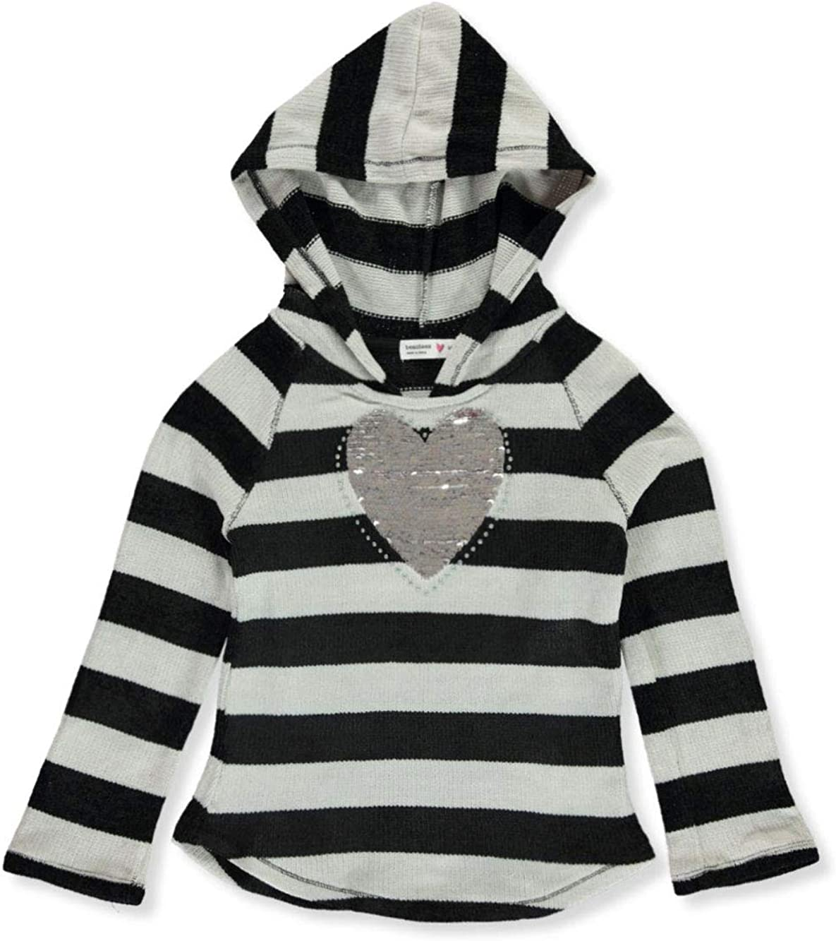 Beautees Girls Flip Sequin Knit Hooded Top
