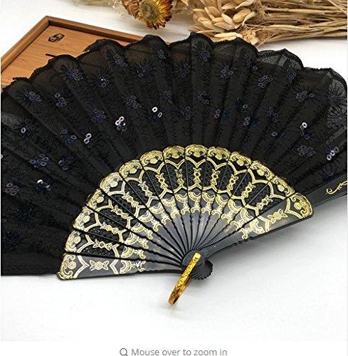 Black Home Decoration Crafts Vintage Retro Peacock Folding Fan Hand Plastic Lace Dance Fans