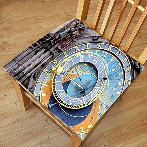 Nalahome Set of 2 Waterproof Cozy Seat Protector Cushion Clock Decor Prague Astronomical Clock in the Old Town A Medieval Landmark of the City Blue and Yellow Printing Size - Prague Sunglasses