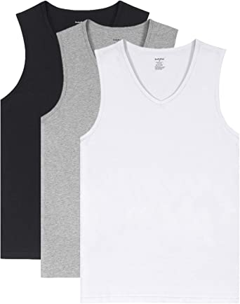 Indefini Mens V Neck Undershirts Cotton Fitted Tees Short Sleeve Men T-Shirts in 1//3 Pack