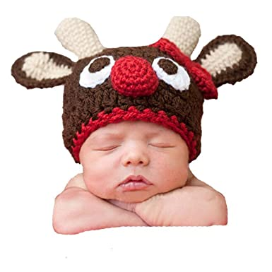 Baby Christmas Deer Photographed Warm Winter Knit Crochet Hat Newborn Baby  Photography Props by Xselector  Amazon.co.uk  Clothing ff45397d459b