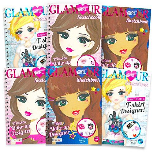 Glamour Girl Fashion Party Favors Set -- Pack of 6 Mini Sketchbook Portfolios for Future Fashion Designers (Fashion Party Supplies) -