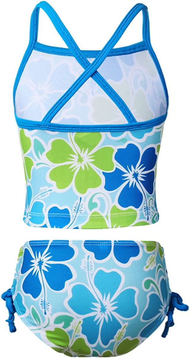 MSemis Girls 2 Piece Tankini Bikini Set Floral Printed Top Bottoms Swimsuit Beachwear