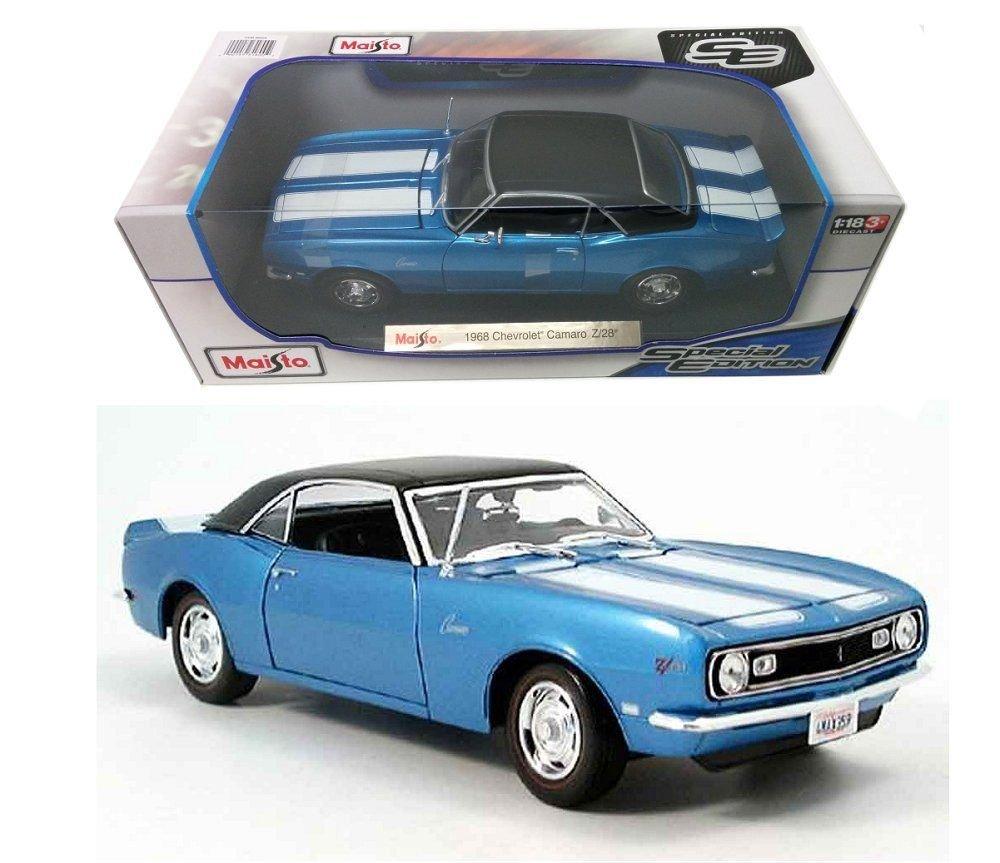 New 118 W B Special Edition Blue 1968 Chevrolet Camaro Z 28 Diecast Model Car By Maisto Toys Games