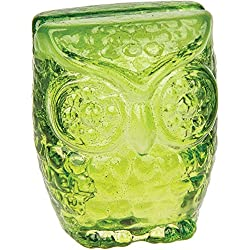 Luna Bazaar Glass Owl Place Card Holder (2.25-Inch, Chartreuse Green) - For Home Decor and Wedding Tabletops