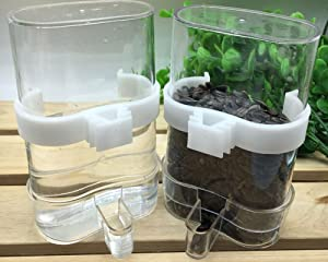 Hypeety Bird Feed Water Dispenser 2 PC Pet Feeder and Water Cup 200ml / 7.05 oz Clear Bird Cage Feeder for Finch Parakeet Small Bird (Color Random & Pack of 2)