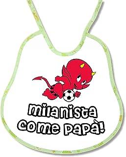 Bavetta Bavaglino Bib personalizzabile Calcio Tifoso Milan bavaglio Milanista come papa'