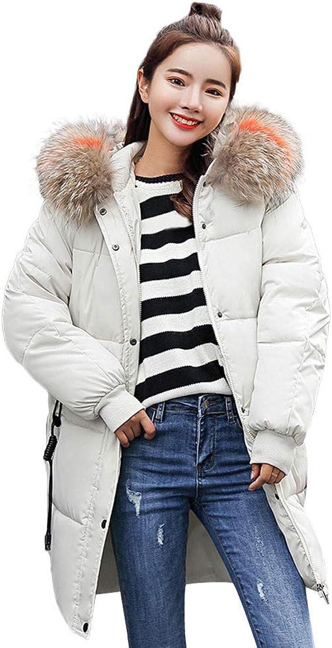 Mujer Invierno Abrigo cálido con Faux Capucha de Piel Grueso ...
