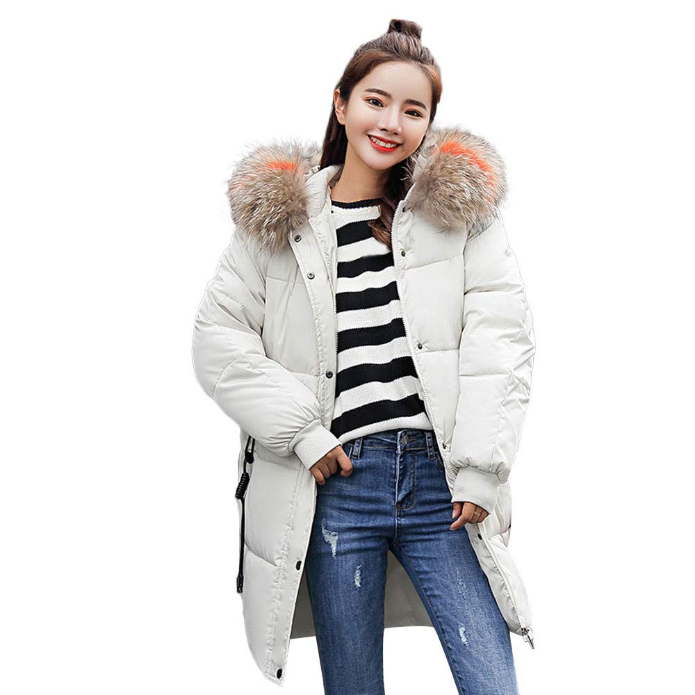 GREFER Clearance!Women Fashion Winter Warm Coat Faux Fur Hooded Thick Warm Slim Jacket Long Overcoat GREFER-0911