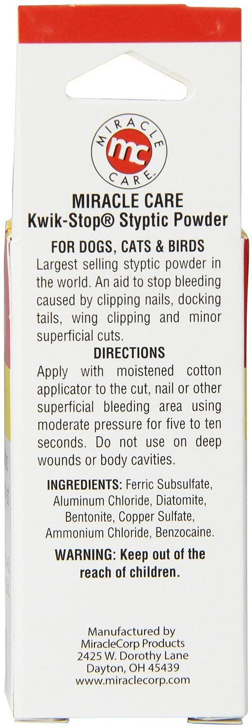Styptic Powder Miracle Care Kwik-Stop for Dogs, Cats & Birds, 0.5-oz jar