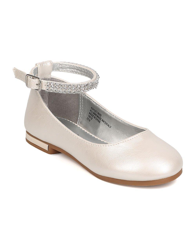 Little Angel FB37Leatherette Rhinestone Ankle Strap Ballerina Flat (Toddler Girl / Little Girl / Big Girl) - Ivory (Size: Toddler 9)