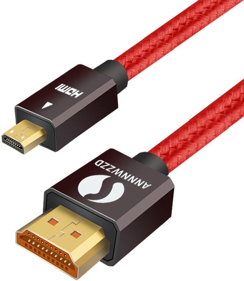 LinkinPerk - Cable micro-HDMI a HDMI, alta velocidad, Compatible con Ethernet, 3D, 4K y retorno de audio