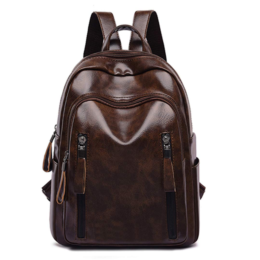 Brown One_Size Waterproof Backpack Ladies PU Leather Young Female Retro Backpack Black Brown Casual Lady Knapsack Black