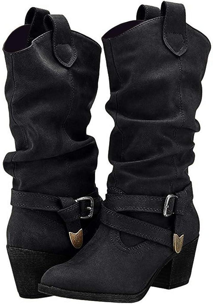 POLP Botas Camperas para Mujer Negro Marron Zapato de tacón con Hebilla Hasta la Rodilla Botas Vaqueras de tacón bajo de 5 cm Zapatos de Cuero artificial Sin Cordones Slip-On Botas altas de vestir