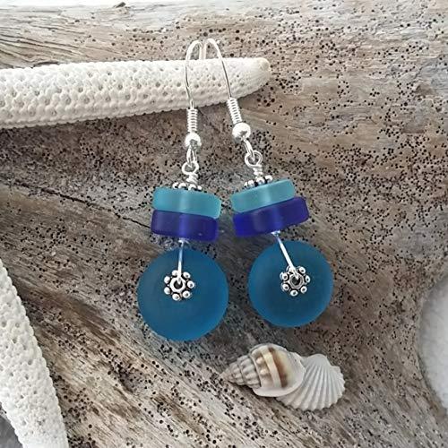 Handmade in Hawaii, blue cobalt teal sea glass earrings, gift box,beach glass earrings,sea glass jewelry,beach glass jewelry