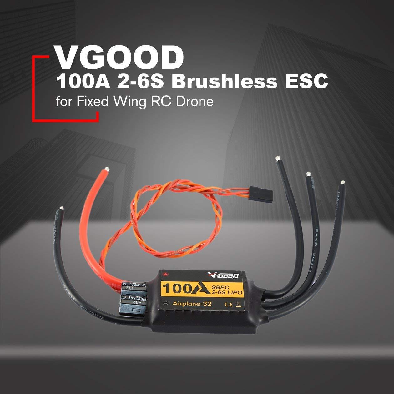 Noir HONGIRT VGOOD ESC sans Brosse 100A 2-6S Lipo 32 Bits avec 1,5 A SBEC pour Drone Avion Avion pi/èce de Rechange